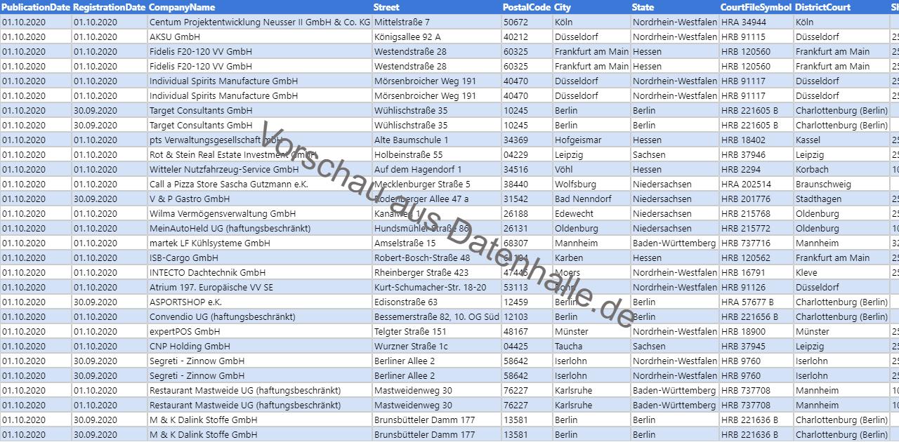 Vorschaubild vom Datensatz Firmengründungen im Oktober 2020