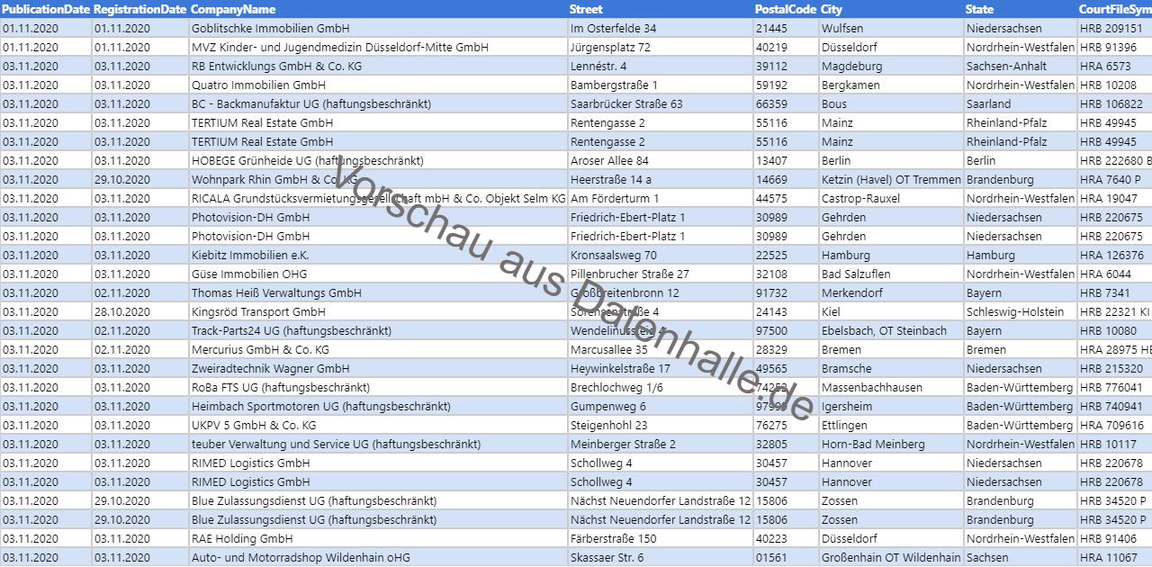 Vorschaubild vom Datensatz Firmengründungen im November 2020