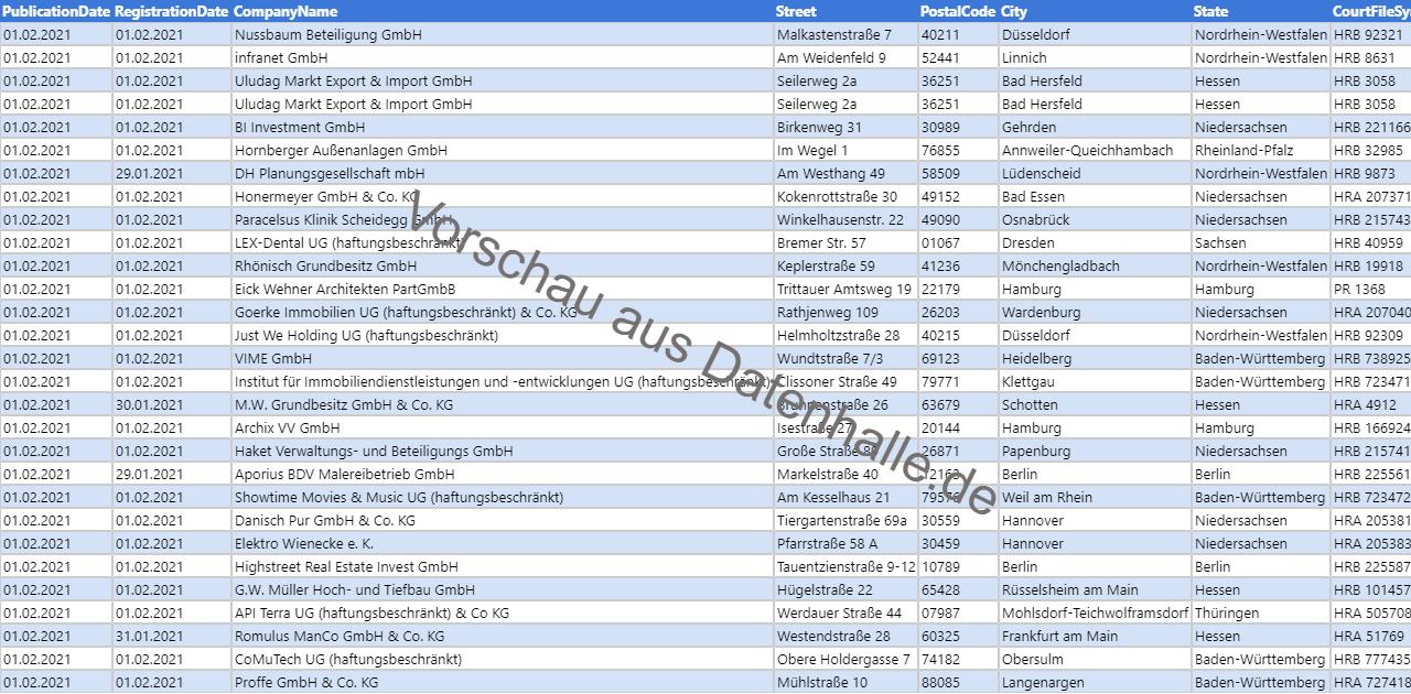 Vorschaubild vom Datensatz Firmengründungen im Februar 2021