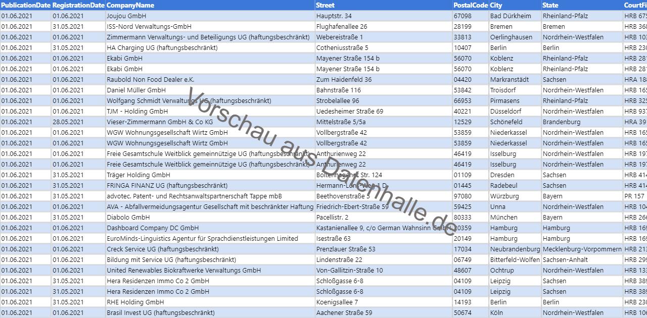 Vorschaubild vom Datensatz Firmengründungen im Juni 2021